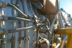 Jet engine of a fighter plane closeup Royalty Free Stock Photos