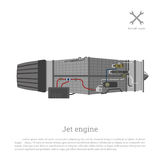 Jet engine in a flat style. Part of the aircraft. Side view. Vec Stock Photo