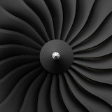 Jet engine. Front fan blades and cone Stock Image