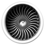 Jet engine front view isolated on white background. Royalty Free Stock Photos