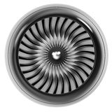 Jet engine front view isolated on white background. Royalty Free Stock Photo