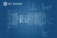 Free Jet Engine In A Outline Style. Industrial Vector Blueprint. Part Of The Aircraft. Side View. Vector Illustration Royalty Free Stock Images - 95561589