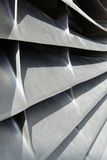 Jet engine inlet vanes. Close-up image of the inlet silvery metallic inlet vanes of an aircraft jet engine Stock Photography