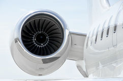 Jet Engine on luxury private aircraft - Bombardier Stock Photo