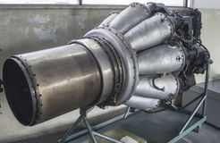 Jet engine with multiple combustion chambers. Main part of the jet combustion engine of an aircraft, on display , with main combustion chambers and air intake stock photo