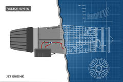 Jet engine in a outline style. Industrial vector blueprint. Part of the aircraft. Side view. Vector illustration Royalty Free Stock Images
