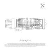 Jet engine in a outline style. Part of the aircraft. Side view. Vector illustration Royalty Free Stock Images