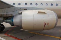 Jet engine passenger plane Stock Images