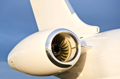 Jet Engine on a Private Plane - Bombardier Stock Photography
