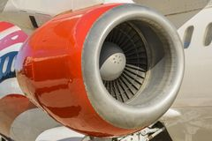 Jet engine. Profile with a jet engine from a airplane Royalty Free Stock Image