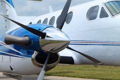 Jet Engine with Propeller. Royalty Free Stock Photos