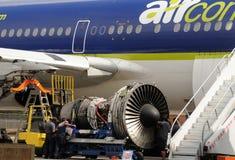Jet engine repair stock photography