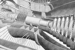 Jet engine section drawing. 3D rendered illustration of a jet engine section drawing. The graphite aspect has been done using a computer software Royalty Free Stock Photography
