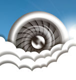 Jet engine in the sky Stock Image