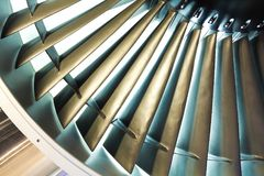 Jet engine turbine blade airplane of background Stock Image