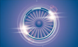 Jet Engine Turbine chrome ring in retro violet blue color style with lens flare light effect. Detailed Airplane Motor Front View Stock Photography