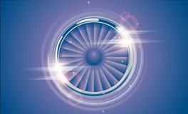 Jet Engine Turbine-chroomring in retro violette blauwe kleurenstijl met het lichteffect van de lensgloed Gedetailleerde Vliegtuig Stock Fotografie