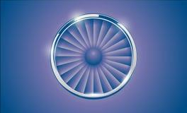 Jet Engine Turbine met chroomring in retro violette blauwe kleurenstijl Gedetailleerde Vliegtuigmotor Front View Vector illustrat Royalty-vrije Stock Afbeelding
