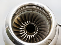 Jet Engine Turbine on a Private Jet Plane Stock Photos