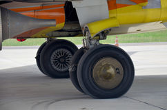 Jet engine and wheel of airplane Royalty Free Stock Images