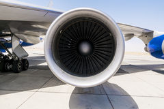 Jet engine on the wing of an aircraft Royalty Free Stock Photos