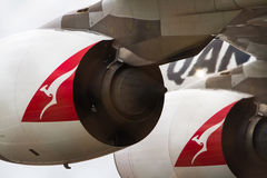 Jet engines of qantas airbus A380. Giant jet engines if Qantas Airbus A380 airliner, with kangaroo logo Royalty Free Stock Photography