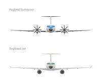Jet et turbopropulseur régional Photographie stock libre de droits