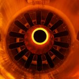 Jet exhaust. Closeup detail of aft jet engine  with exhaust Royalty Free Stock Photo