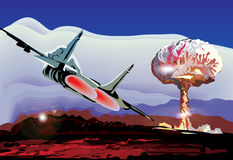Jet and explosion illustration Stock Images