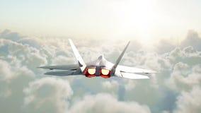 Jet f22, combattant volant au-dessus des nuages Concept de guerre et d'arme Animation 4K réaliste banque de vidéos