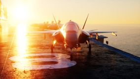 Jet f35, fighter on aircraft carrier in sea, ocean . War and weapon concept. 3d rendering. Royalty Free Stock Photography