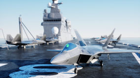 Jet f22, fighter on aircraft carrier in sea, ocean . War and weapon concept. 3d rendering. Stock Photo