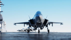 Jet f35, fighter on aircraft carrier in sea, ocean . War and weapon concept. 3d rendering. Royalty Free Stock Photos