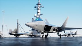 Jet f22, fighter on aircraft carrier in sea, ocean . War and weapon concept. 3d rendering. Jet f22, fighter on aircraft carrier in sea, ocean . War and weapon Stock Photo