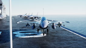 Jet f16, fighter on aircraft carrier in sea, ocean . War and weapon concept. Realistic 4k animation. stock footage