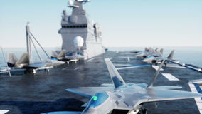 Jet f22, fighter on aircraft carrier in sea, ocean . War and weapon concept. Realistic 4k animation. stock video