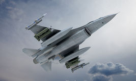 Jet F-16 fly in the sky , american military fighter plane. USA army Royalty Free Stock Images
