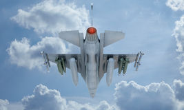 Jet F-16 fly in the sky , american military fighter plane. USA army Stock Photos