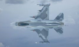 Jet F-16 fly in the sky , american military fighter plane. USA army Royalty Free Stock Image
