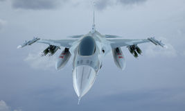 Jet F-16 fly in the sky , american military fighter plane. USA army Stock Image