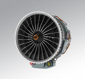 Jet fan engine isolated on gray background. Royalty Free Stock Photography