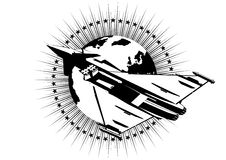 Jet fighter. Military fighter against Earth. Black and white illustration Stock Photography