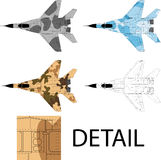 Jet fighter. High detailed vector illustration of a modern military airplane top view with three camouflage patterns Stock Images