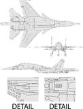 Jet fighter. High detailed vector illustration of a modern military airplane  three side view Stock Photography