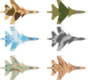 Jet fighter. High detailed vector illustration of a modern military airplane top view with six camouflage patterns Royalty Free Stock Photography