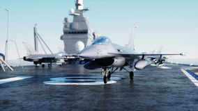 Jet, fighter on aircraft carrier in sea, ocean . War and weapon concept. Realistic 4k animation. stock footage