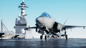 Jet, fighter on aircraft carrier in sea, ocean . War and weapon concept. Realistic 4k animation. stock video footage