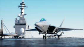 Jet, fighter on aircraft carrier in sea, ocean . War and weapon concept. Realistic 4k animation.
