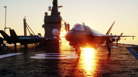 Jet, fighter on aircraft carrier in sea, ocean . War and weapon concept. Realistic 4k animation. stock video