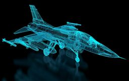 Jet Fighter Aircraft  Mesh Stock Photography